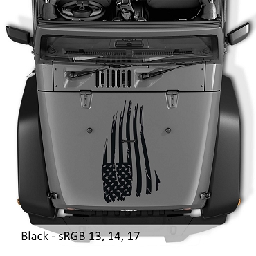 Distressed American Flag Blackout Hood Vinyl Decal | Distressed American Flag Decal