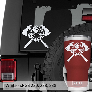 Firefighter Skull and Axe Crossbones Vinyl Decal