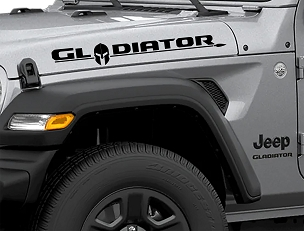 Jeep Wrangler JT Hood Gladiator Lettering Style Text With Gladiator Helmet Decal