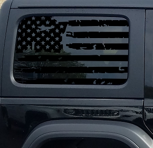 Jeep Wrangler Jk & JL Distressed Tattered American Flag Window Hardtop Set Vinyl Decal | 2007-2019+