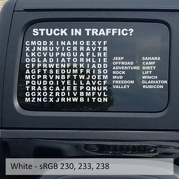 Stuck In Traffic Word Puzzle Hardtop Window Decal