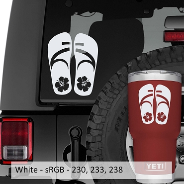 Hibiscus Flower on Flip Flops Vinyl Decal