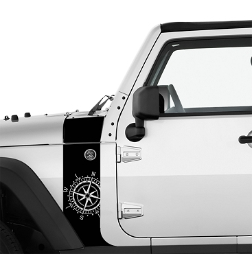 JK/JKU Nautical Compass Hood Cowl & Fender Stripe Graphic Vinyl Decal Kit x2 (Pair)