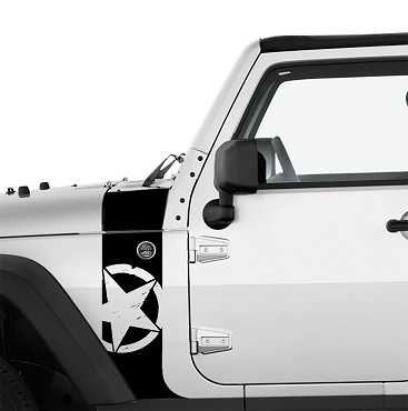 JK/JKU Alpha Romeo Military Star Hood Cowl & Fender Stripe Graphic Vinyl Decal Kit x2 (Pair)