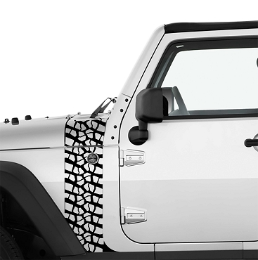 JK/JKU Tire Track Hood Cowl & Fender Stripe Graphic Vinyl Decal Kit x2 (Pair)