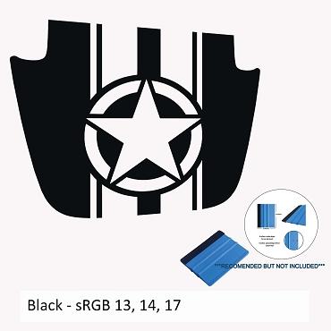 Alpha Romeo Military Star & Stripes Blackout Hood Decal for JL/JT Sport/Sahara 2018-Present Models