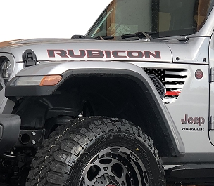 Thin Red Line Distressed American Flag 2pc Fender Vent Decals for 18+ Wrangler JL JLU Gladiator JT