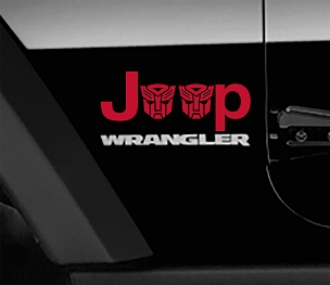 Jeep Wrangler Transformers Autobot Side Fender Vinyl Decals x2 (Pair)