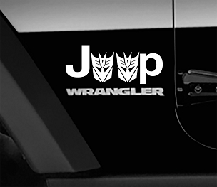 Jeep Wrangler Transformers Decepticon Side Fender Vinyl Decals x2 (Pair)