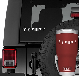 Jeep Wrangler Grill Heartbeat Pulse Vinyl Decal