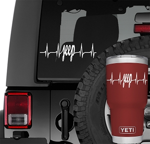 Jeep Wrangler Heartbeat Pulse Vinyl Decal