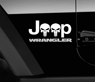 Jeep Wrangler Punisher Skulls Side Fender Vinyl Decals x2 (Pair)