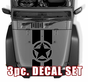 Oscar Mike Military Star Jeep Black Out Hood 3 Piece Vinyl Decal Set