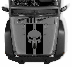 Punisher Skull Pin Stripe Blackout Hood Decal