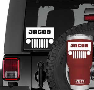 Custom Name Wrangler Windshield Vinyl Decal | Personalized Wrangler Yeti Decal