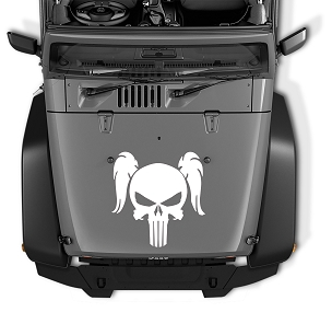 Jeep Wrangler Pigtail Punisher Skull Vinyl Blackout Hood Decal | Female Pony Tail Punisher Skull Vinyl Decal