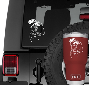 Rosie Riveter Pin Up Jeep Girl Vinyl Decal