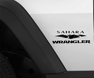 Jeep Wrangler Sahara Fender Vinyl Decals x2 (Pair)