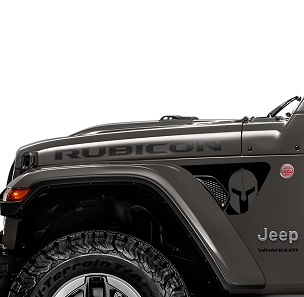 Spartan Gladiator Helmet 2pc Vinyl Decal Graphic Fender Vent Decals for 18+ Wrangler JL JLU Gladiator JT