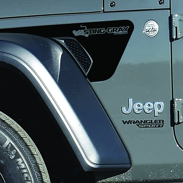 JL/JT Fender Vent Sting-Gray Edition Blackout Decal Pair