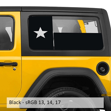 Texas Lone Star Hardtop Flag Window Vinyl Decal Set - Fits Wrangler JK & JL Models