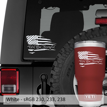 We The People Distressed American Flag Vinyl Decal