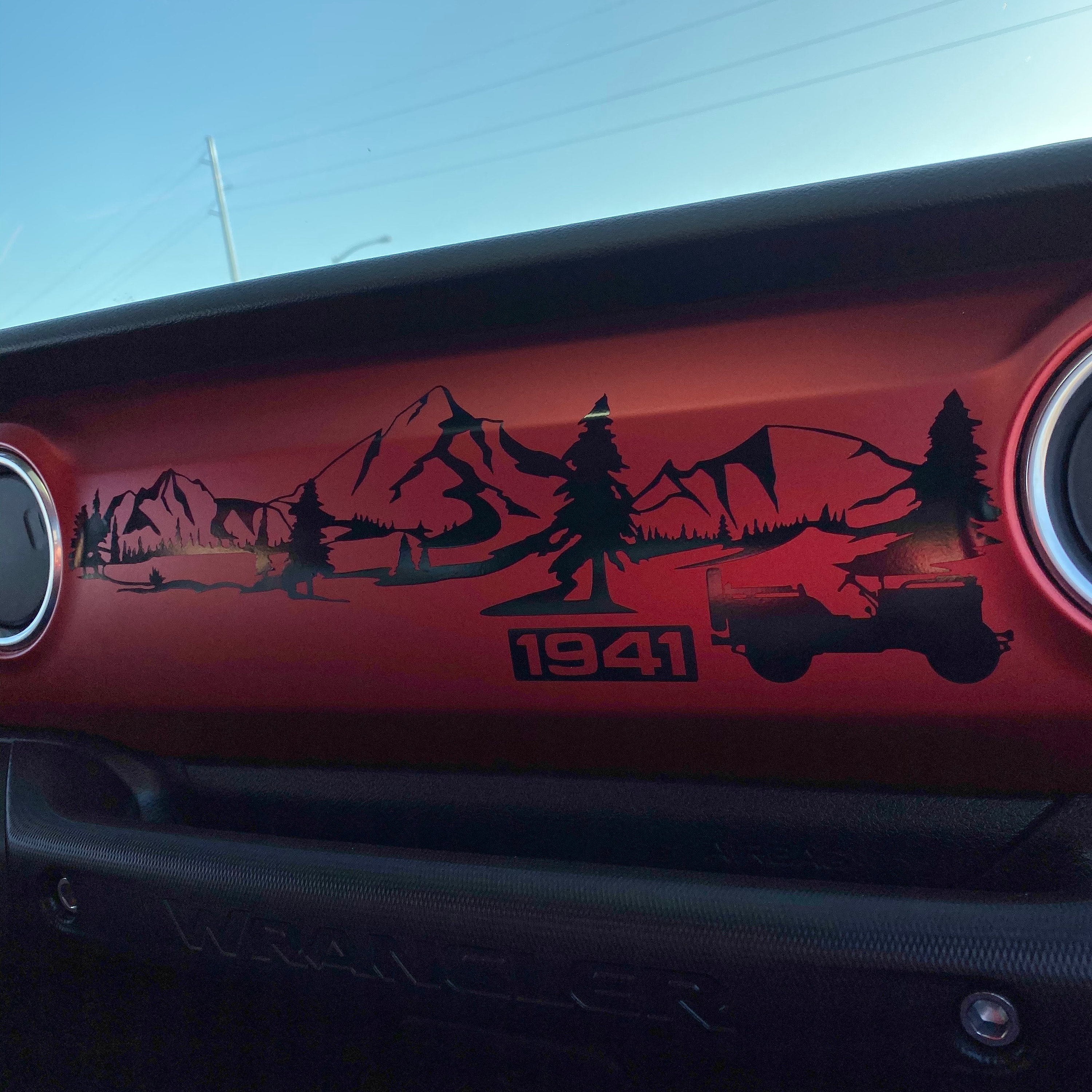 Dashboard Decal for Wrangler JL JLU JT Mountain Compass 1941 Willys Scenery