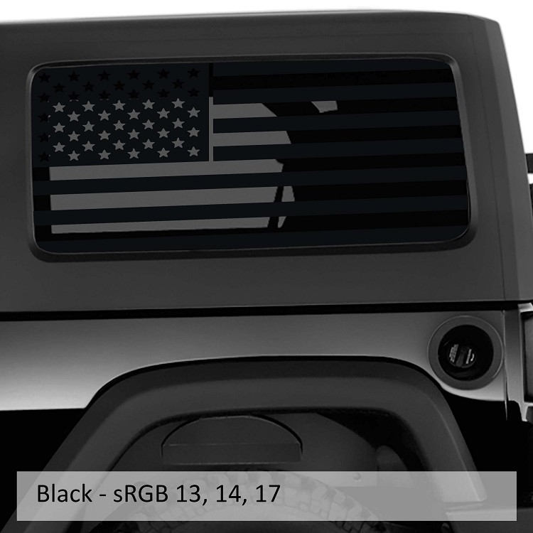 Jeep Wrangler Jk & JL American Flag Window Hardtop Set Vinyl Decal