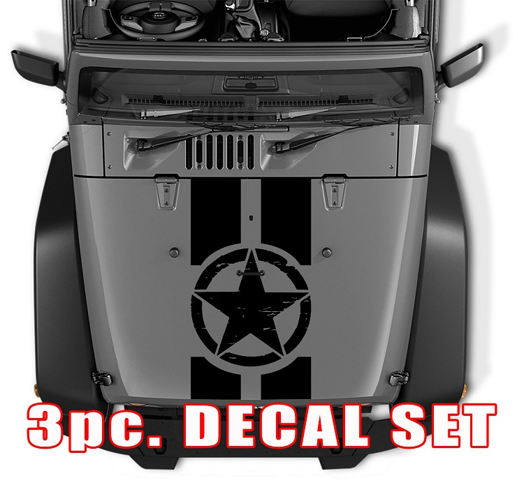 Distressed Oscar Mike Military Star Jeep Black Out Hood 3 Piece Decal