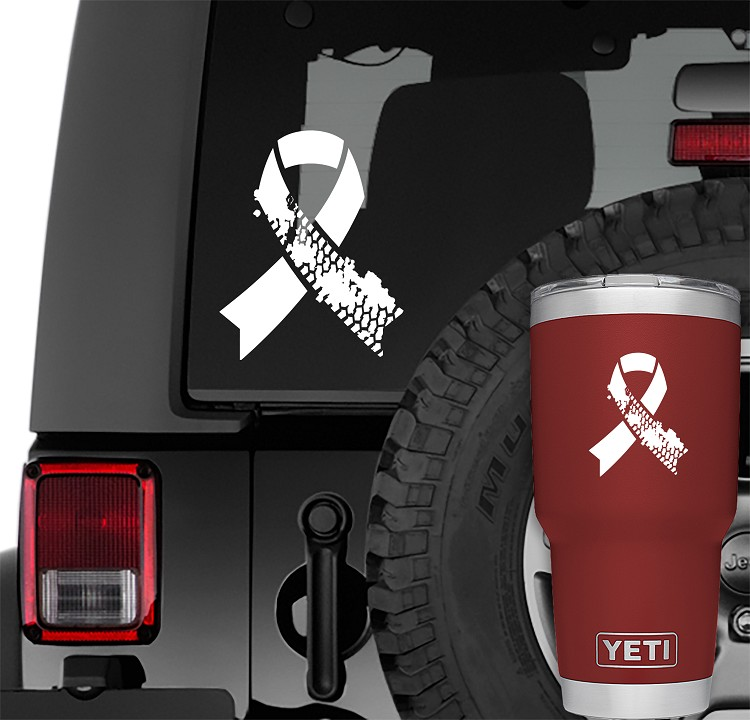 White Jeep Muddy Tire Track Support Ribbon Vinyl Decal