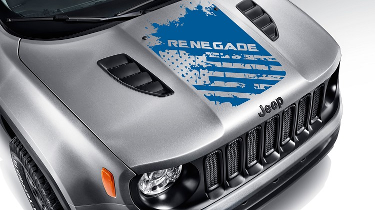 Jeep Renegade Distressed American Flag Hood Decal