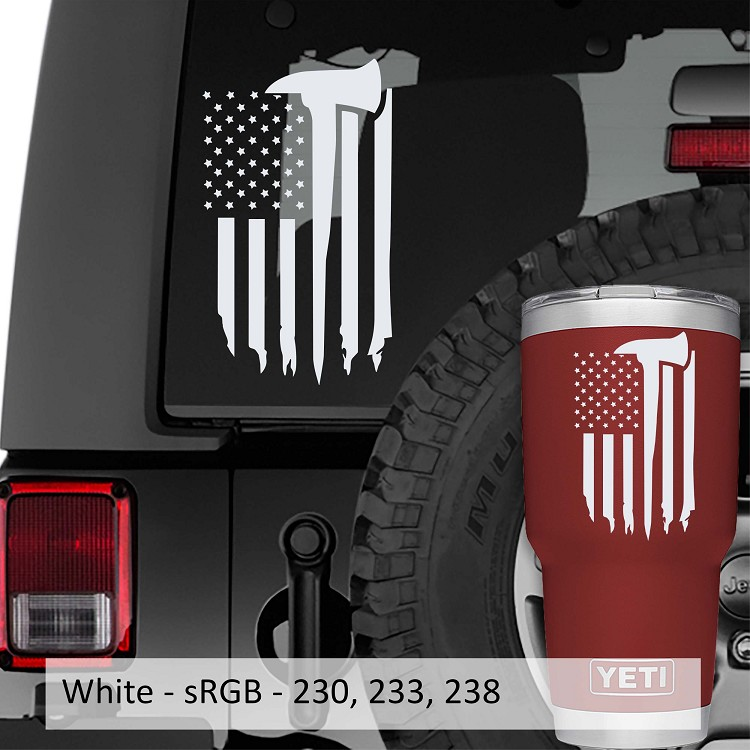 Tattered Firefighter American Flag Vinyl Decal