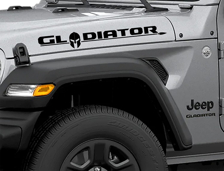 eep Wrangler JT Hood Gladiator Lettering Style Text With Gladiator Helmet Decal