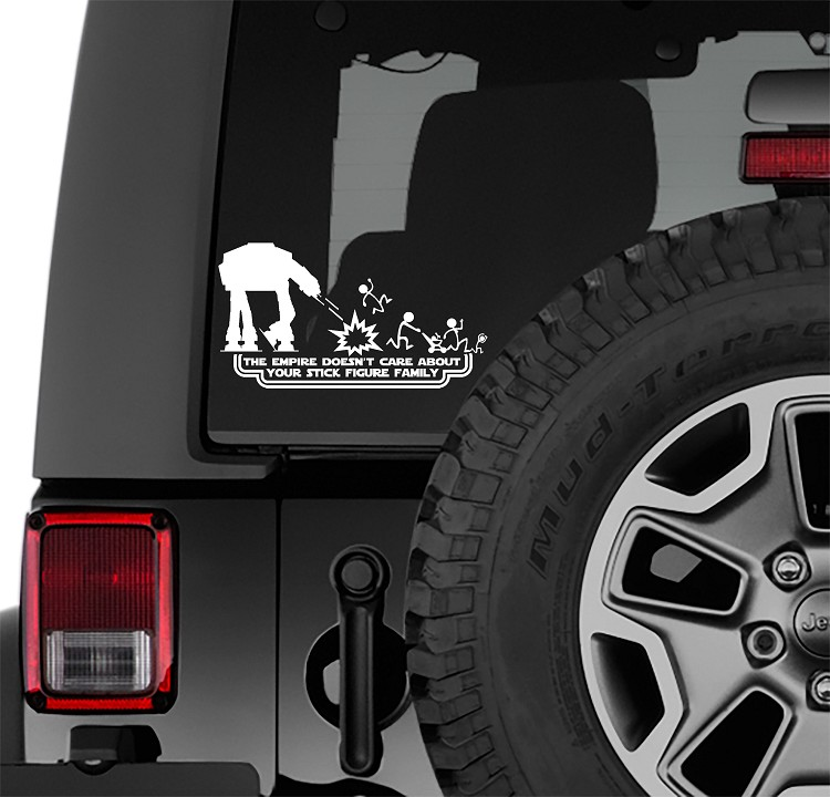 At-At The Empire Doesn't Care Your Stick Figure Family Vinyl Decal