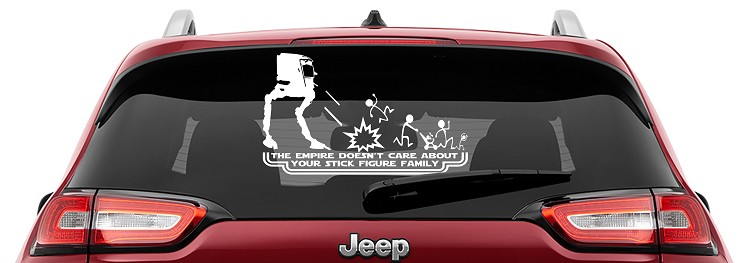 At-St The Empire Doesn't Care Your Stick Figure Family Vinyl Decal