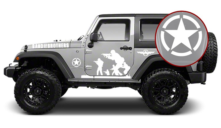 Jeep Wrangler Band of Brothers US Army 9pc Vinyl Decal Kit