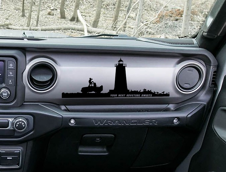 Wrangler JL JLU & JT Lighthouse Your Next Adventure Awaits Dashboard Scene Vinyl Decal