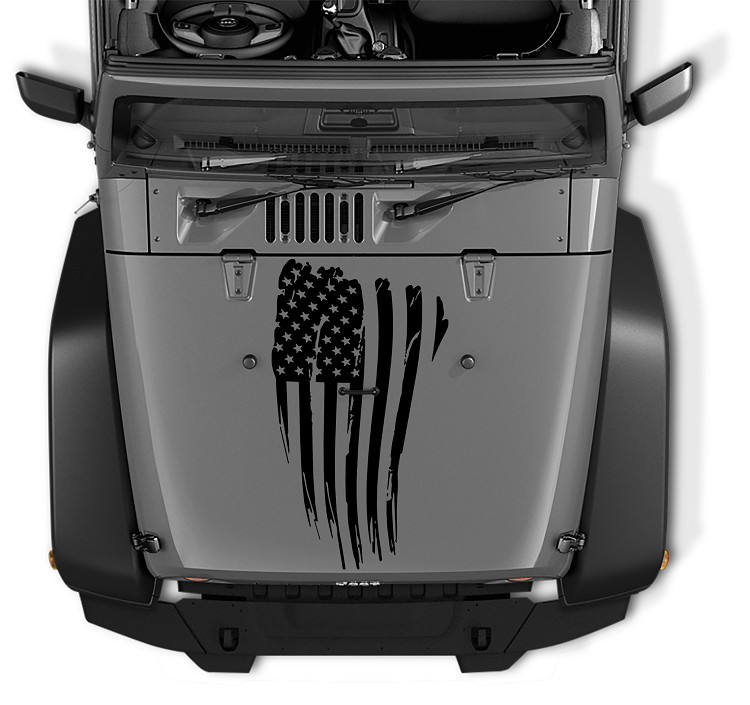 Distressed American Flag Blackout Hood Decal