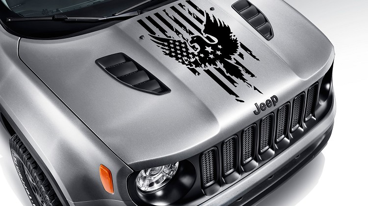 Distressed American Flag w/ Bald Eagle Blackout Hood Vinyl Decal
