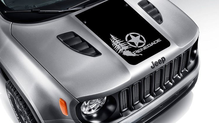 Distressed Alpha Romeo Star w/ Trees Blackout Hood Vinyl Decal