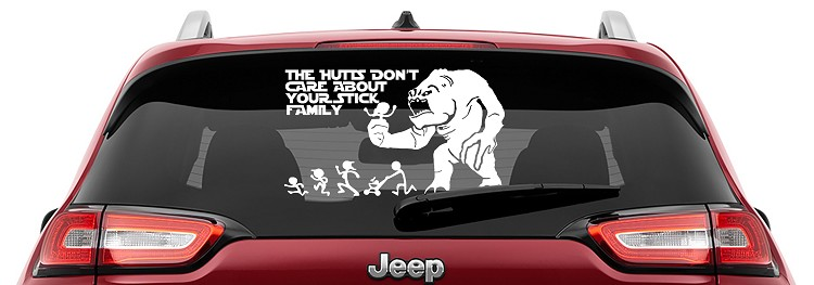 The Hutts Don't Care Your Stick Figure Family Vinyl Decal