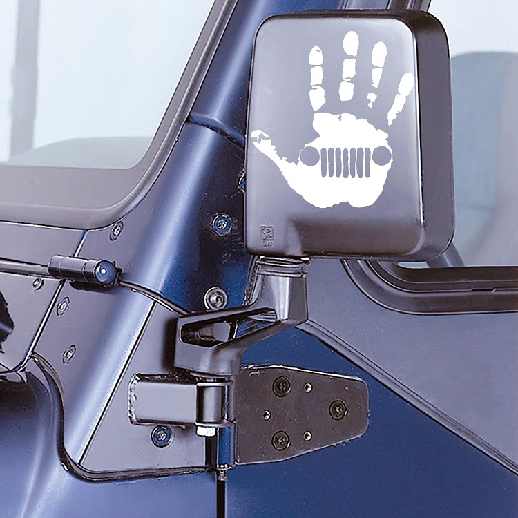 White Jeep Wave Hand Decal