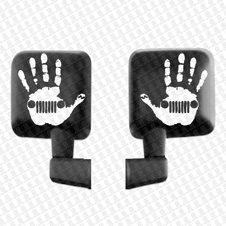 White Pair Jeep Wave Hand Decals
