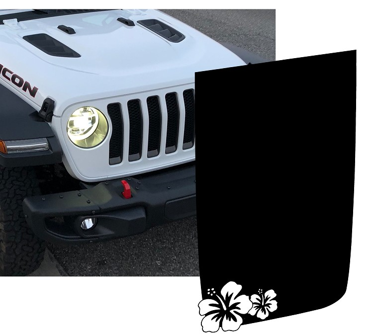 Jeep Wrangler JL/JLU/JT Rubicon Style Hibiscus Flower Hood Blackout Decal
