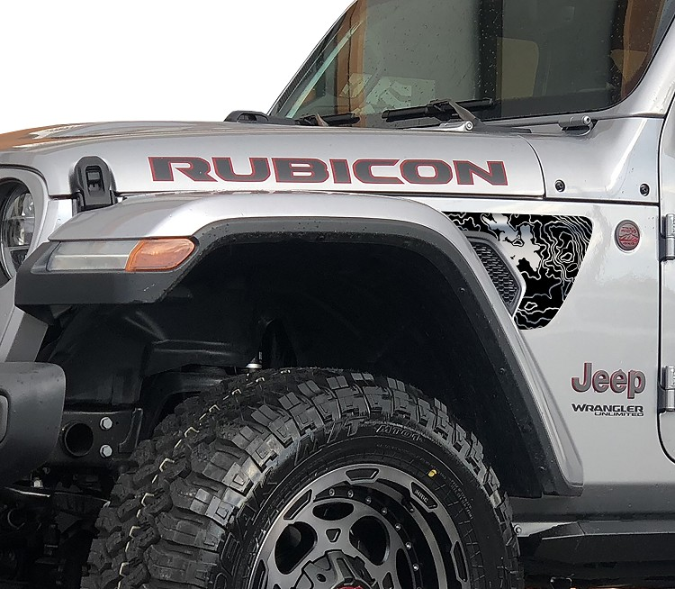 Rubicon Trail Spider Lake Topographic 2pc Fender Vent Blackout Decal