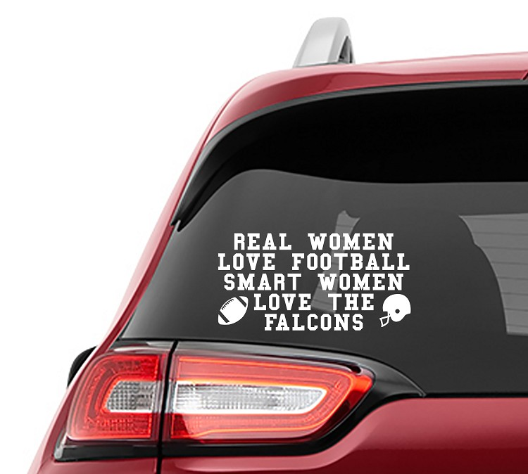 Real Women Love Football Smart Women Love the Falcons Vinyl Decal