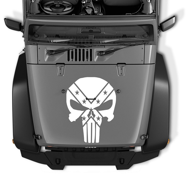 Jeep Wrangler Rebel Punisher Skull Vinyl Decal
